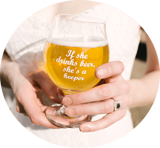 Bride Holding a Beer Glass with the quote